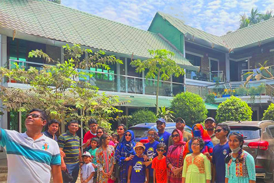 Navy Officers in front of Sampan Resort with Their Family